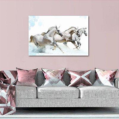 Quadro decorativo Cavalos Brancos Correndo Artístico