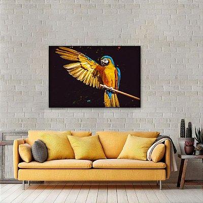 Quadro decorativo Arara Amarela e Azul Aves Arte