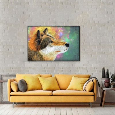 Quadro Lobo Abstrato Multicolorido The Wolf