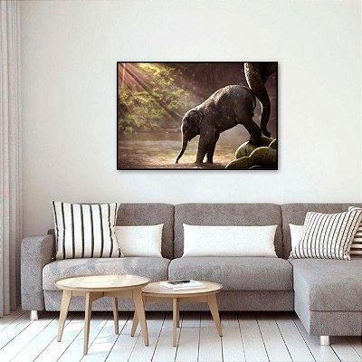 Quadro O Elefante e Seu Filho decorativo Natureza Paisagem