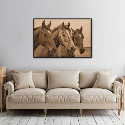 Quadro The Horse decorativo Trio de Cavalos Sépia