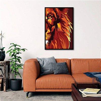 Quadro decorativo Leão de Judá Moderno Tons Vermelhos