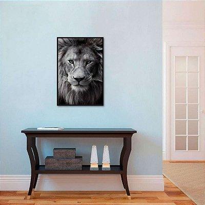 Quadro decorativo A Face do Leão em Preto e Branco