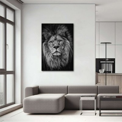 Quadro Leão A Elegância do Rei em Preto e Branco