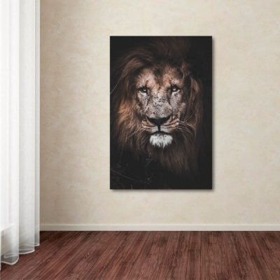 Quadro The Lion decorativo Leão Moderno Vertical
