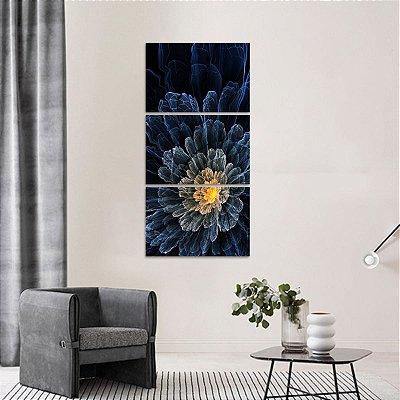 Quadro Conjunto Flor Abstrata Vertical em 3 Peças