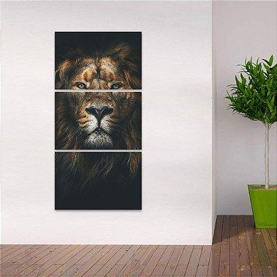 Quadro Mosaico Vertical Animais Leão Alpha em 3 Peças