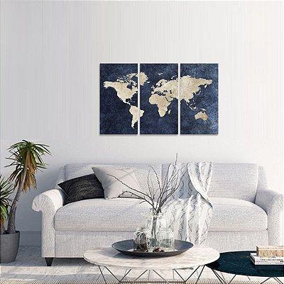 Quadro Mosaico Mapa Mundi decorativo em 3 Telas