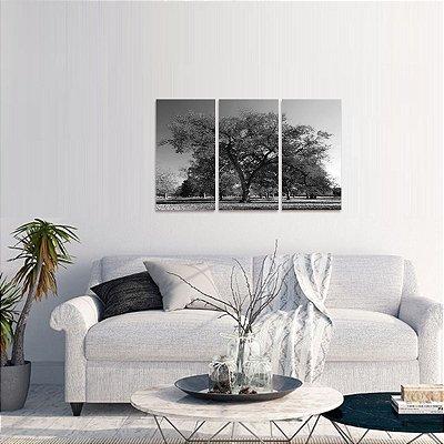 Quadro decorativo Árvore da Vida Paisagem em Preto e Branco