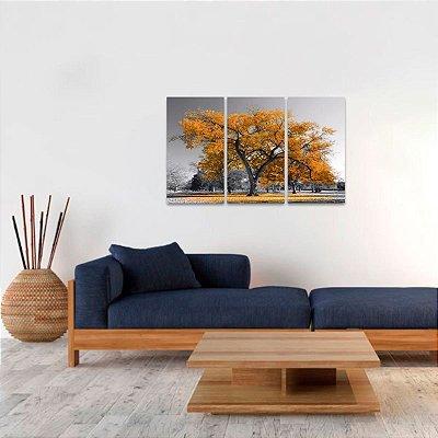 Conjunto 3 Peças Árvore da Vida Paisagem Natureza Laranja