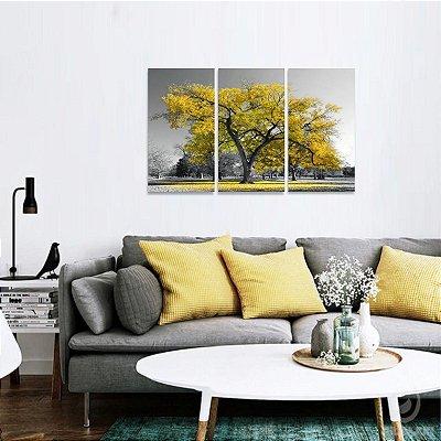 Conjunto 3 Peças Árvore da Vida Paisagem Natureza Amarelo