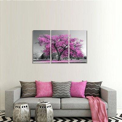 Conjunto 3 Peças Árvore da Vida Paisagem Rosa