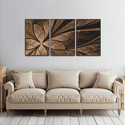 Quadro Flor ou Borboleta Abstrato Fractal Marrom Jogo 3 Peças