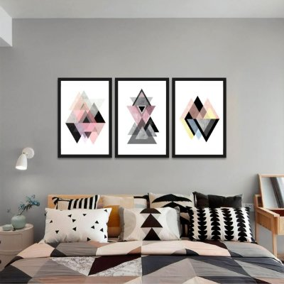 Kit 3 Quadros Geométricos Abstratos Triângulos