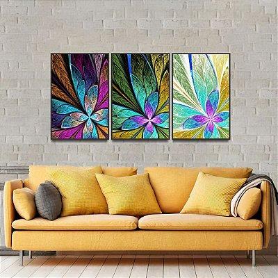 Kit 3 Quadros Abstratos Estilo Vitral Multicolorido Flor ou Borboleta
