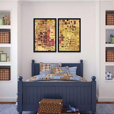 Quadro Abstrato Amarelo e Marrom Arte Geométrico Vitral Kit 2 Peças