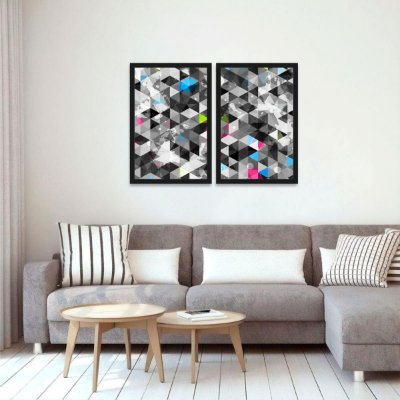 Kit 2 Quadros Triângulos Abstratos Moderno Geométrico