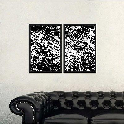 Quadro Abstrato Moderno Linhas Arte Preto e Branco Kit 2 Peças