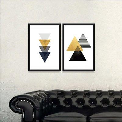 Quadro Triângulos Abstrato Arte Moderna Geométrico Kit 2 Peças