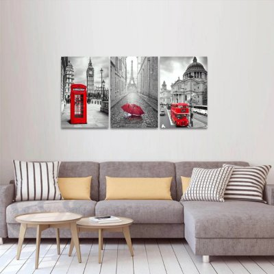 Quadro Paris e Londres Preto Branco e Vermelho Jogo 3 Peças
