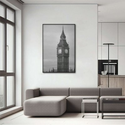 Quadro London Fantastic Big Ben Preto e Branco Vertical