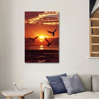 Quadro Pássaros Mar Pôr do Sol decorativo Paisagem Vertical