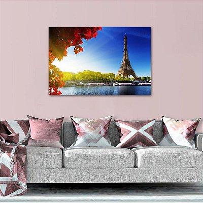 Quadro Paisagem de Paris Folhas Vermelhas Torre Eiffel