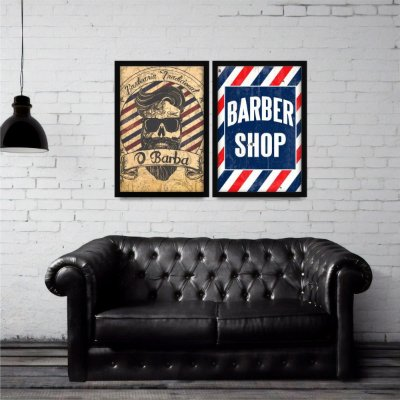 Kit 2 Quadros Barbearias Vintage Barber Shop decorativo
