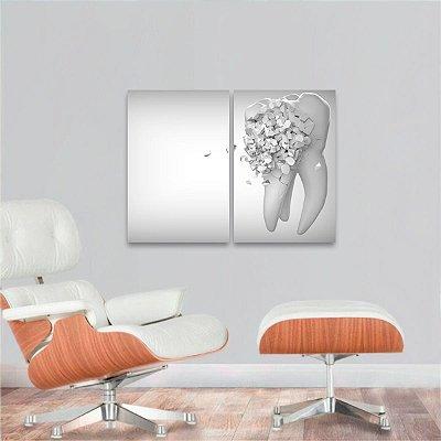 Quadro Dente Branco Arte Abstrata Dentista Consultório