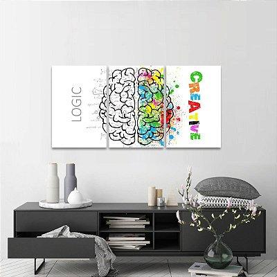 Conjunto 3 Quadros Os Lados do Cérebro Lógica e Criatividade decorativo