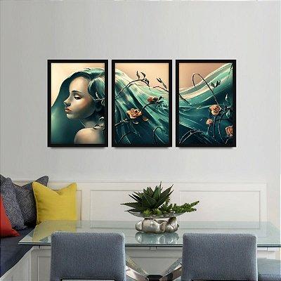 Quadro Psicologia na Arte Abstrato Conjunto 3 Peças Woman
