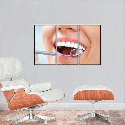 Quadro Dentista Sorriso Consultórios decorativo Mosaico 3 Peças
