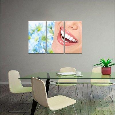 Quadro Sorriso Odontologia Consultórios Jogo 3 Peças
