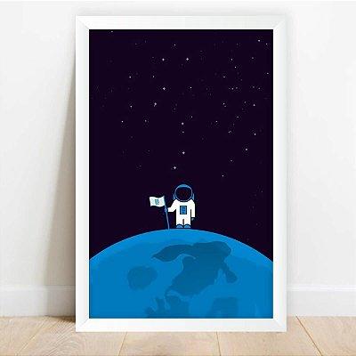 Quadro Astronauta na Lua Desenhos do Universo Decorativo