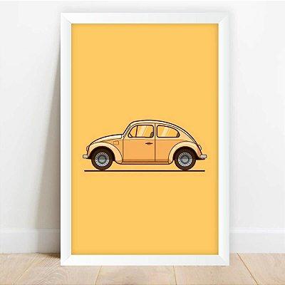 Quadro Decorativo Arte Fusca Amarelo Carros Antigos