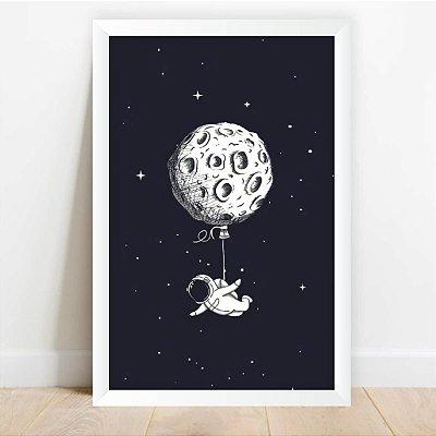 Quadro Decorativo Astronauta Lua de Balão Coleção Universo
