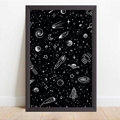Quadro Decorativo Desenhos do Universo Espaço Foguetes
