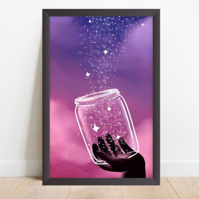 Quadro Decorativo Estrelas no Potinho Coleção Universo