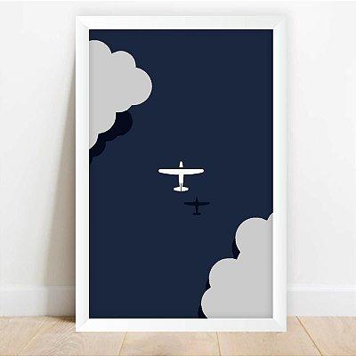 Quadro Decorativo Infantil Avião Voando Drawing