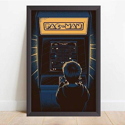 Quadro Decorativo Infantil Criança Jogando Pacman Vídeo Games