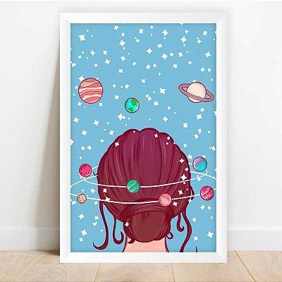 Quadro Decorativo Mente do Universo Azul Planetas e Estrelas