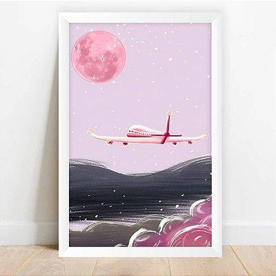 Quadro Desenho Avião & Lua Rosa decorativo