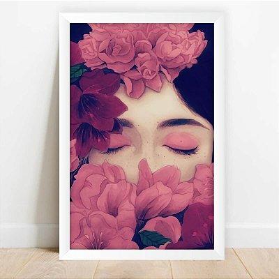 Quadro Arte Menina Adormecida Flores Decorativo