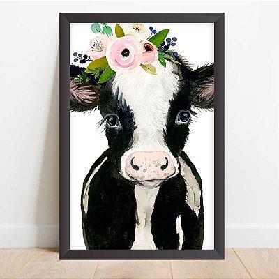 Quadro Coleção Animais da Fazenda Vaca Tiara de Flores