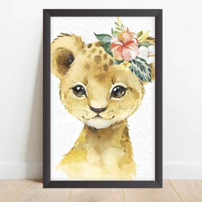 Quadro Coleção Animais da Floresta Decorativo Onça Tiara de Flores
