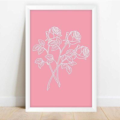 Quadro Coleção Flores Decorativo Galhos de Rosas