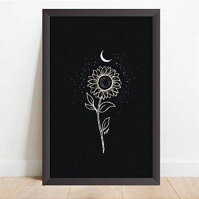 Quadro Coleção Flores Girassol e a Lua Artístico