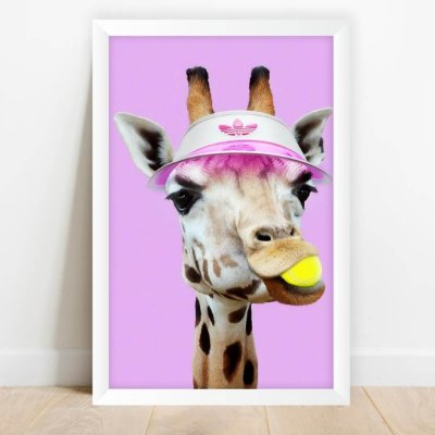Quadro Coleção Fun Decorativo Girafa Tenista