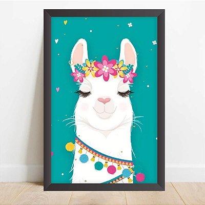Quadro Coleção Fun Decorativo Lhama Tiara de Flores