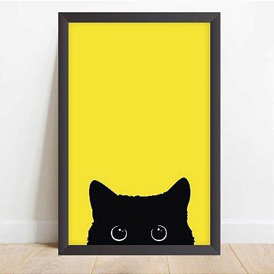 Quadro Coleção Pets Arte Gato Preto Curioso